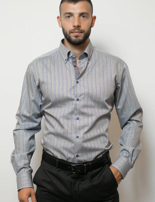 02-2054-F134-17 (1) Мужская рубашка приталенная (Slim Fit) голубая в клетку со стандартным рукавом