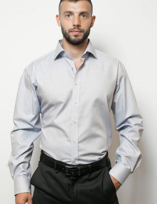 02-4546-X177-14 (1) Мужская рубашка прямая (Modern Fit) голубая с принтом со стандартным рукавом