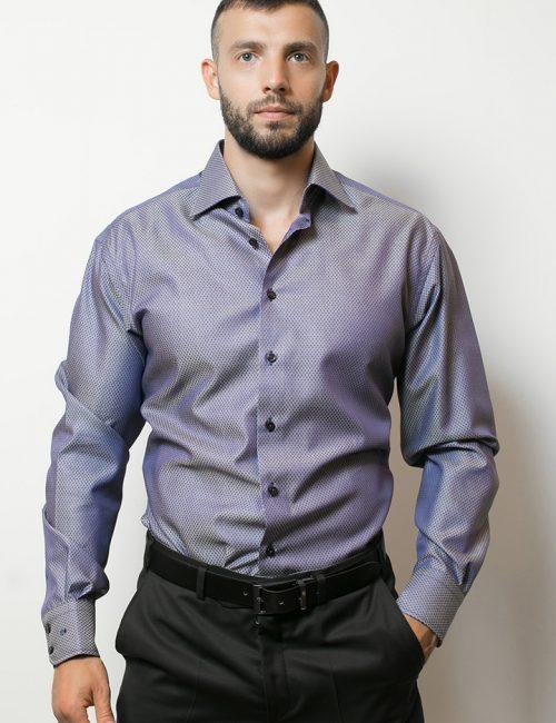 02-4627-S687-17 (1) Мужская рубашка прямая (Modern Fit) сиреневая с принтом со стандартным рукавом