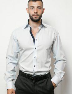 02-4669-X136-12 (1) Мужская рубашка прямая (Modern Fit) голубая в клетку со стандартным рукавом