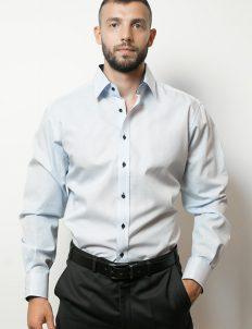 02-4755-X148-11 (1) Мужская рубашка прямая (Modern Fit) голубая в полоску со стандартным рукавом
