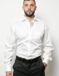 02-4991-x187-00 (1) Мужская рубашка прямая (Modern Fit) белая в полоску со стандартным рукавом