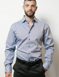 02-8841-F187-19 (1) Мужская рубашка приталенная (Slim Fit) голубая в клетку со стандартным рукавом
