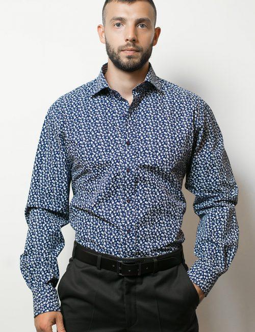 02-8964-X167-18 (1) Мужская рубашка прямая (Modern Fit) синяя с принтом со стандартным рукавом