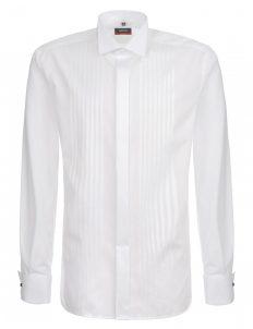 Мужская рубашка прямая (Modern Fit) белая в полоску со стандартным рукавом