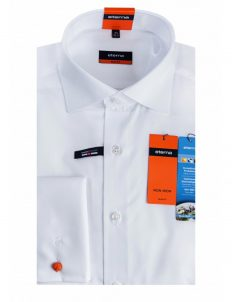 Мужская рубашка приталенная (Slim Fit) белая со стандартным рукавом