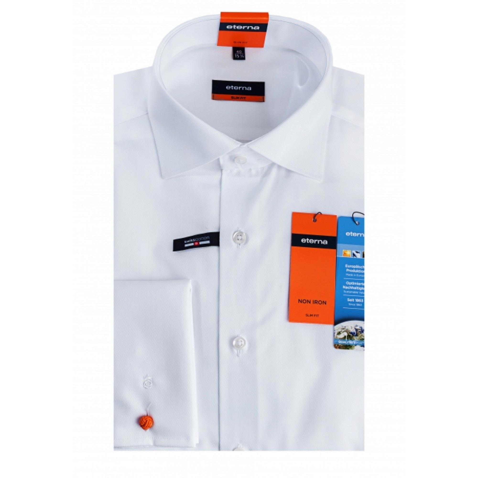 7c124ab8626adf1 Сорочка приталенная (Slim Fit) белая со стандартным рукавом 02-4159 ...