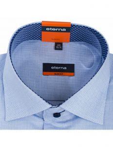 Мужская рубашка приталенная (Slim Fit) голубая в клетку со стандартным рукавом