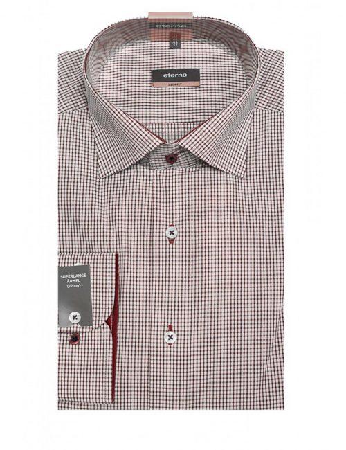 Мужская рубашка приталенная (Slim Fit) красная в клетку с длинным рукавом