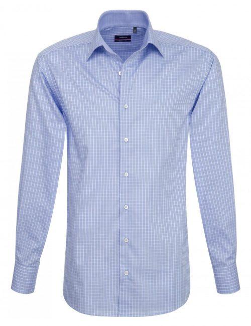 Мужская рубашка прямая (Modern Fit) голубая в клетку со стандартным рукавом