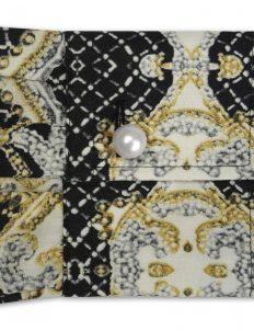 Женская блуза объемная (Comfort Fit) черная с принтом со стандартным рукавом