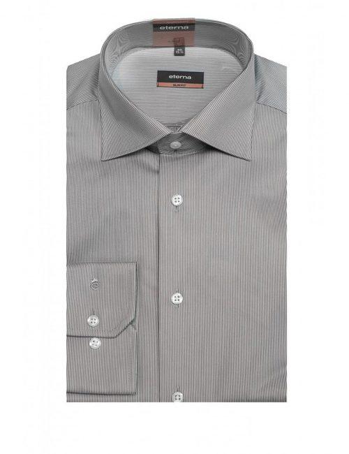 Мужская рубашка приталенная (Slim Fit) серая в полоску со стандартным рукавом