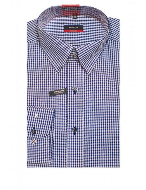 Мужская рубашка прямая (Modern Fit) синяя в клетку с длинным рукавом