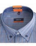 02-2054-F134-17 (4) Мужская рубашка приталенная (Slim Fit) голубая в клетку со стандартным рукавом
