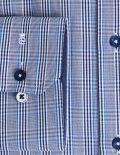 02-2054-F134-17 (3) Мужская рубашка приталенная (Slim Fit) голубая в клетку со стандартным рукавом