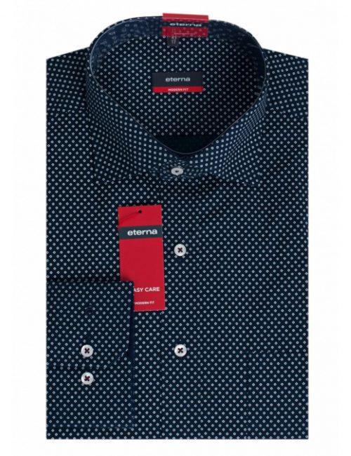 Мужская рубашка прямая (Modern Fit) синяя с принтом со стандартным рукавом