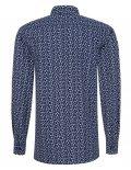 02-8964-X167-18 (3) Мужская рубашка прямая (Modern Fit) синяя с принтом со стандартным рукавом