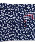 02-8964-X167-18 (4) Мужская рубашка прямая (Modern Fit) синяя с принтом со стандартным рукавом