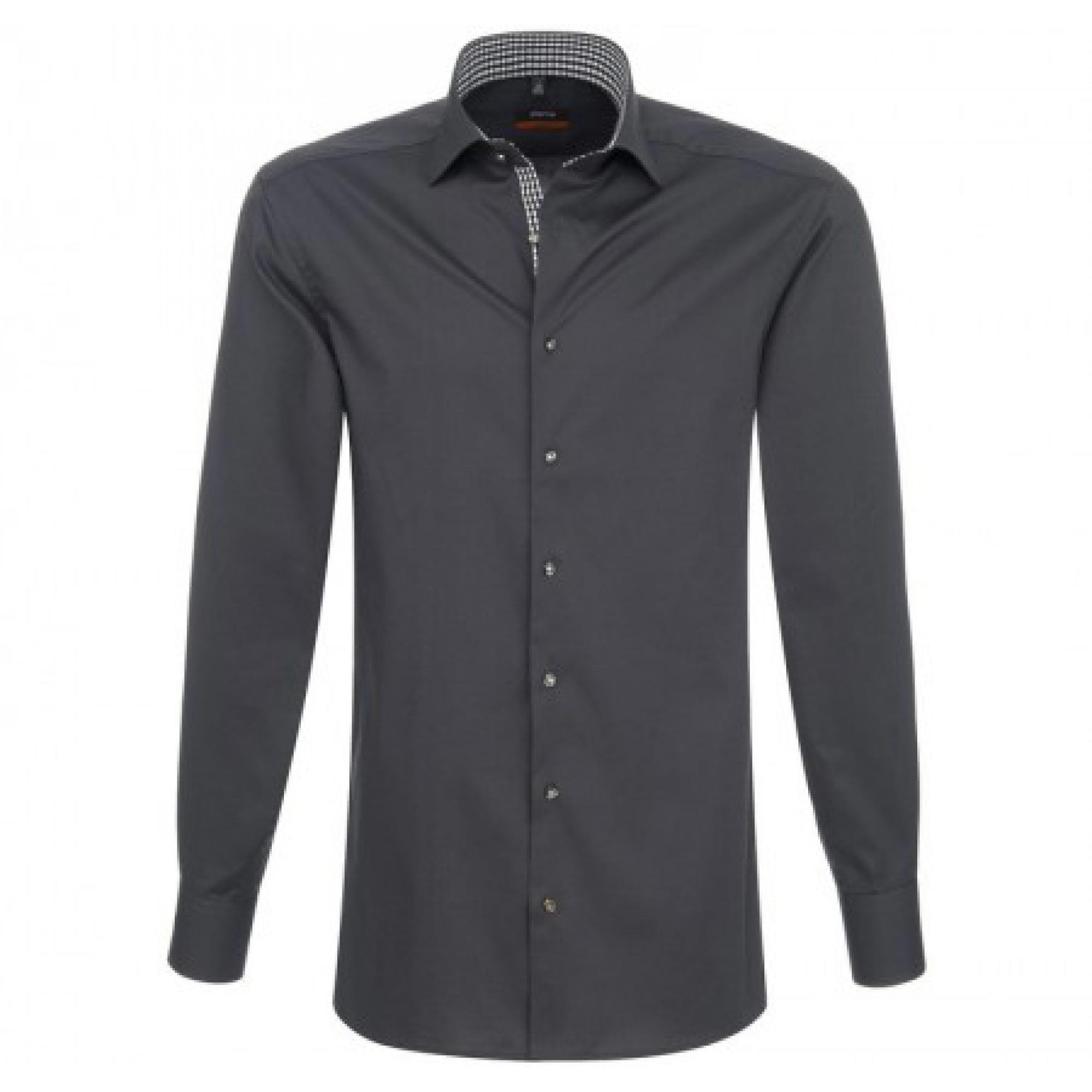 375c38c4579 Мужская сорочка приталенная (Slim Fit) серого цвета с длинным ...