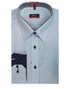 02-4755-X148-11 (2) Мужская рубашка прямая (Modern Fit) голубая в полоску со стандартным рукавом
