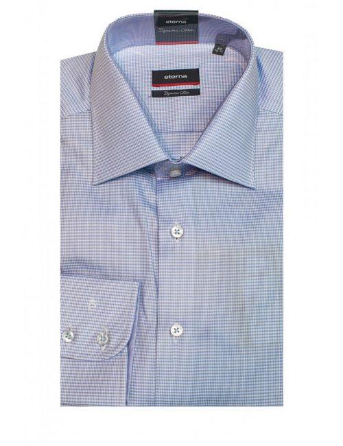 Мужская рубашка прямая (Modern Fit) голубая с принтом со стандартным рукавом