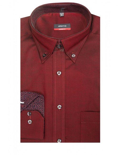 Мужская рубашка прямая (Modern Fit) красная со стандартным рукавом