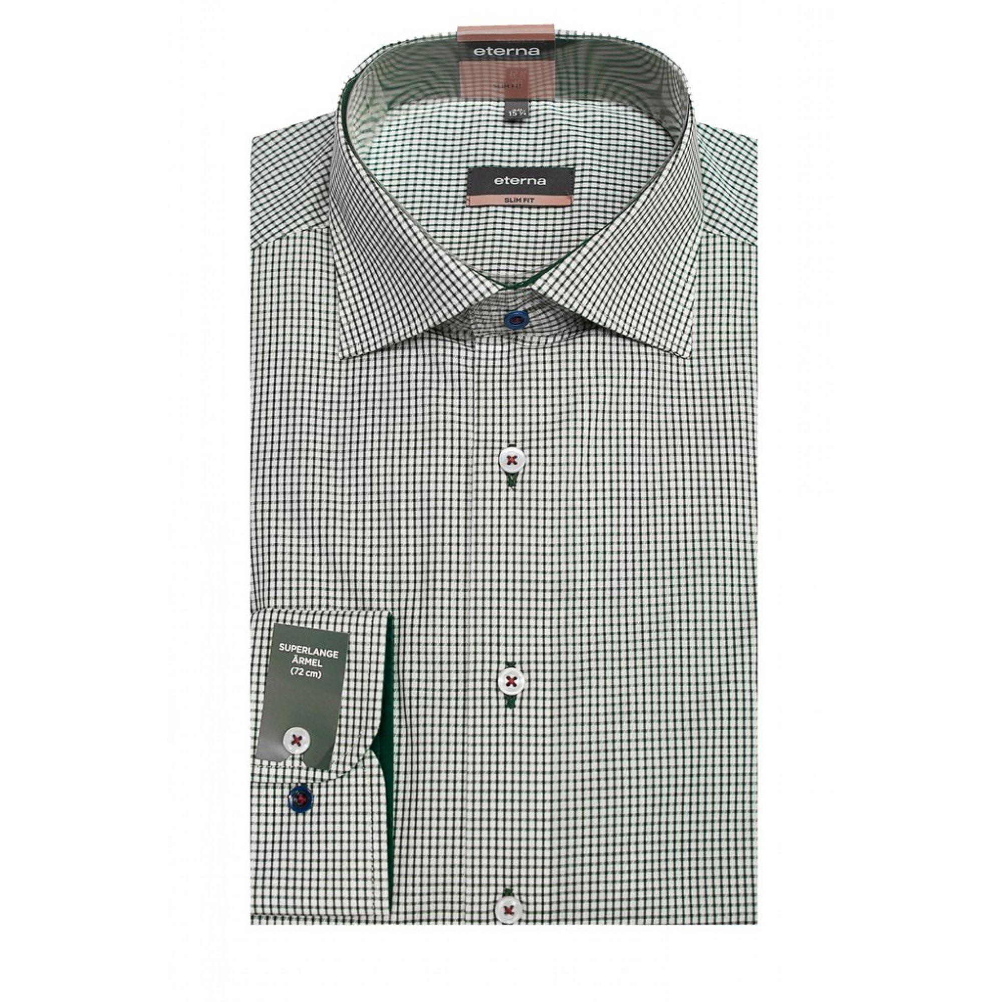 0245a1625ee Мужская рубашка приталенная (Slim Fit) зеленая в клетку с длинным рукавом