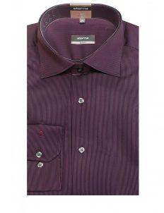 Мужская рубашка приталенная (Slim Fit) фиолетовая в полоску со стандартным рукавом