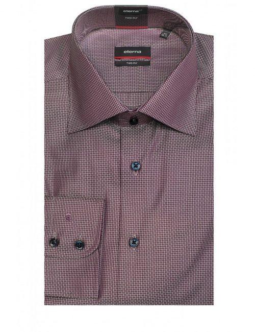 Мужская рубашка прямая (Modern Fit) сиреневая с принтом со стандартным рукавом