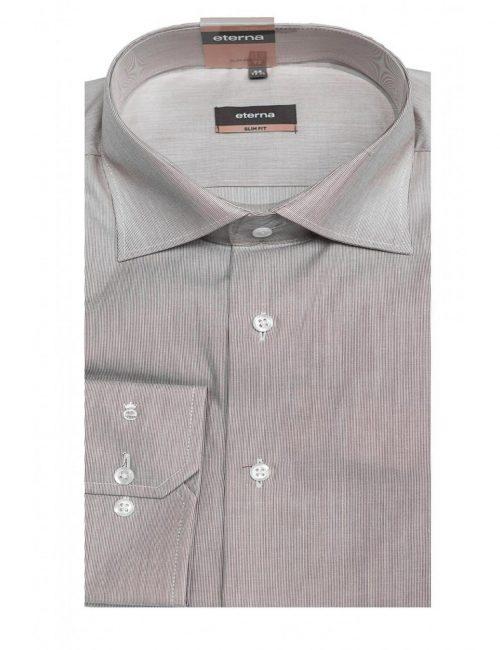 Мужская рубашка приталенная (Slim Fit) фиолетовая со стандартным рукавом