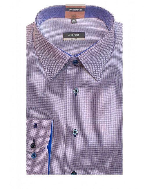 Мужская рубашка приталенная (Slim Fit) сиреневая в клетку со стандартным рукавом