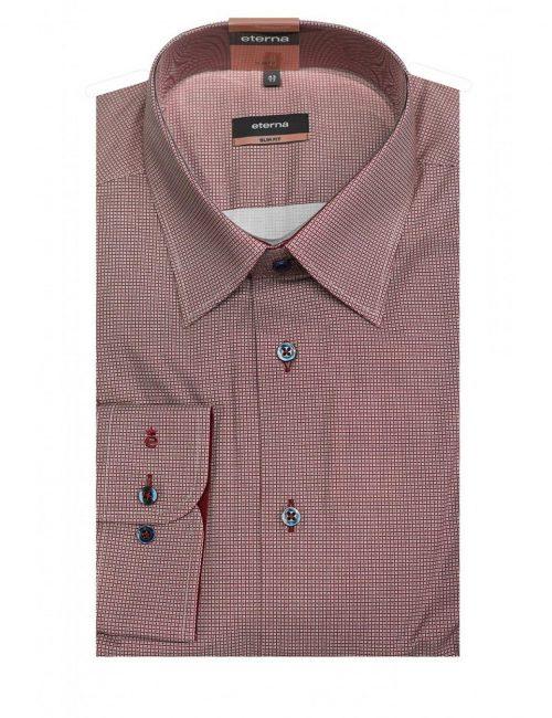 Мужская рубашка приталенная (Slim Fit) ягодная в клетку со стандартным рукавом