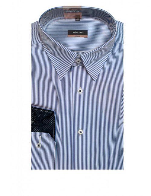 Мужская рубашка приталенная (Slim Fit) голубая в полоску со стандартным рукавом