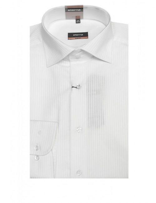 Мужская рубашка приталенная (Slim Fit) белая в полоску со стандартным рукавом