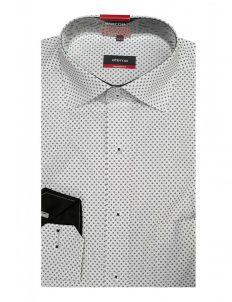 Мужская рубашка прямая (Modern Fit) белая с принтом со стандартным рукавом