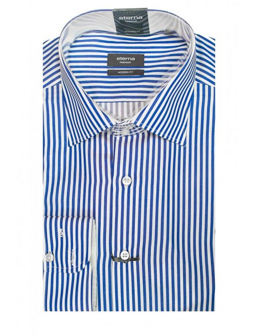 Мужская рубашка прямая (Modern Fit) синяя в полоску со стандартным рукавом