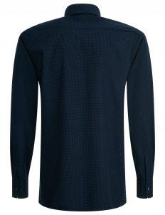 Мужская рубашка прямая (Modern Fit) синяя в горошек с длинным рукавом