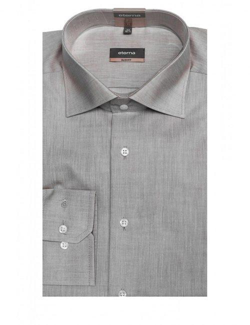 Мужская рубашка приталенная (Slim Fit) серая со стандартным рукавом