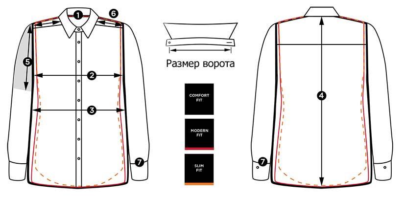 Размеры мужской рубашки