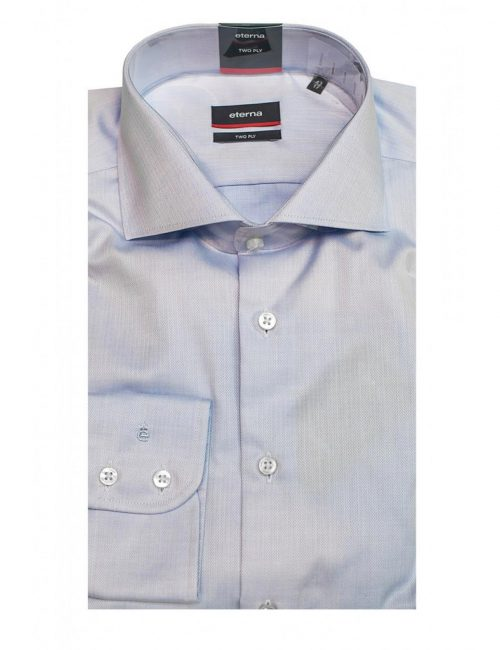 Мужская рубашка прямая (Modern Fit) голубая текстурная со стандартным рукавом