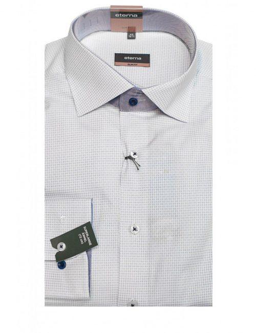 Мужская рубашка приталенная (Slim Fit) белая в клетку с длинным рукавом
