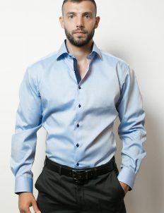 02-8100-F132-12 (1) Мужская рубашка приталенная (Slim Fit) голубая со стандартным рукавом