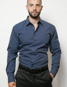 02-8570-F18B-19 (1) Мужская рубашка приталенная (Slim Fit) синяя с якорями со стандартным рукавом