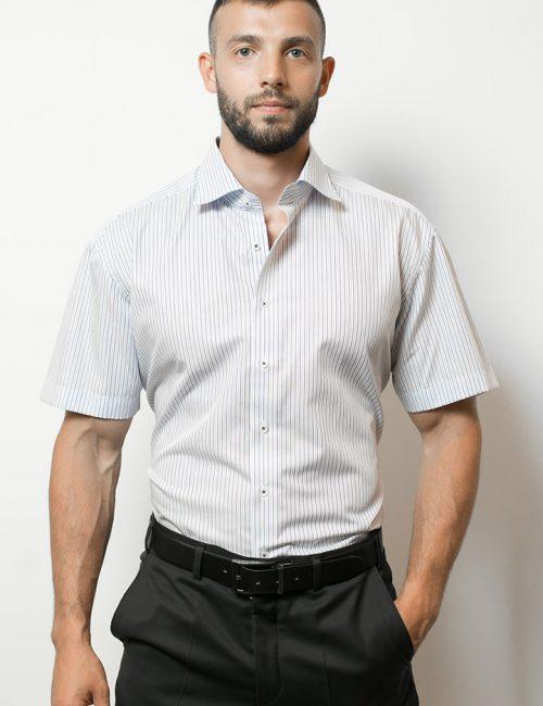 03-4602-G157-19 (1) Шведка приталенная (Slim Fit) белая в полоску с коротким рукавом