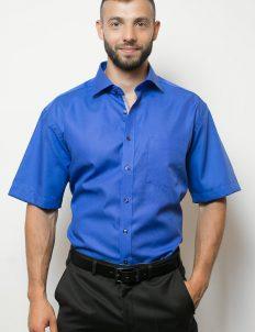 03-4699-C187-16 (1) Шведка прямая (Modern Fit) синяя с коротким рукавом