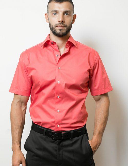 03-8722-G177-51 (1) Шведка приталенная (Slim Fit) красная с коротким рукавом