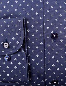 02-8570-F18B-19 (4) Мужская рубашка приталенная (Slim Fit) синяя с якорями со стандартным рукавом