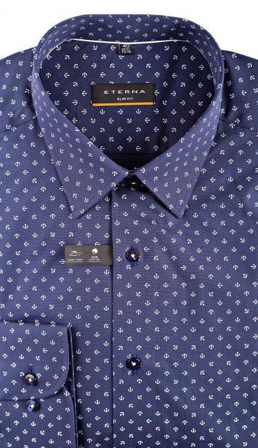 02-8570-F18B-19 (2) Мужская рубашка приталенная (Slim Fit) синяя с якорями со стандартным рукавом