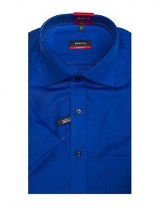 03-4699-C187-16 (2) Шведка прямая (Modern Fit) синяя с коротким рукавом