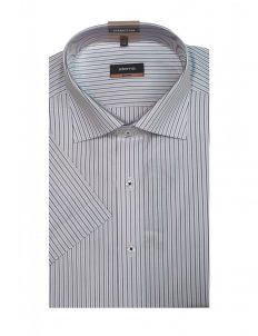 03-4602-G157-19 (2) Шведка приталенная (Slim Fit) белая в полоску с коротким рукавом